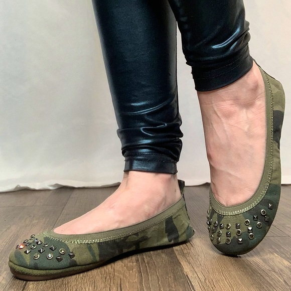 YS Green Camouflage Studded Ballet Flats with Box